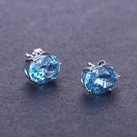 Sólido 14 k Oro Blanco Natural Blue Topaz Joyería de Aretes de Diamantes Pendientes Del Banquete De boda de Compromiso de Las Mujeres