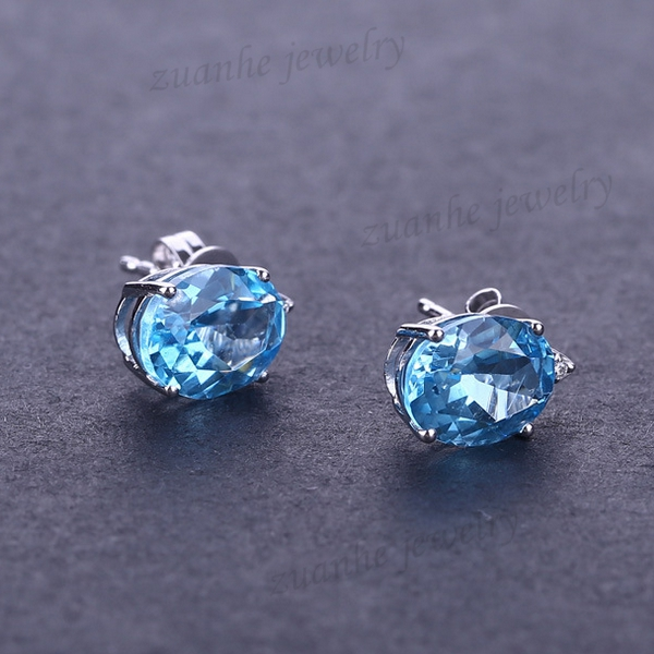 Solid 14k White Gold Natural Blue Topaz Stud Earrings Diamonds Jewelry Women Engagement Wedding Party Earrings 0 28 ct natural diamonds earrings solid 14k white gold snow shape charm jewelry