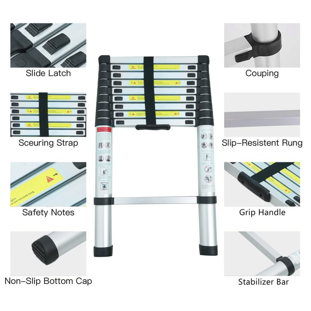 Newest 2.9m Multi-Purpose Alloy Aluminum Retractable Multifunctional Telescopic Single Straight Extension Extendable Ladder