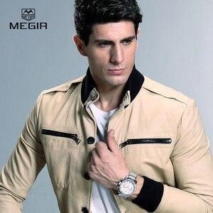 Image 5 - MEGIR montre bracelet à quartz pour hommes, montre bracelet blanche, à la mode, avec trois yeux, étanche et lumineuse, pour hommes, tendance