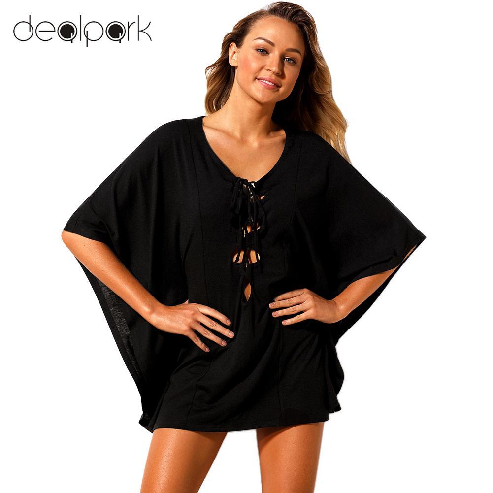 2018 Estate Sexy Mini Tunica Vestito Del Bikini Delle Donne Magliette E Camicette Del Merletto Up Costumi Da Bagno Femminile Beachwear Casual Allentato Bikini Vestito Nero/ Bianco Meno Caro