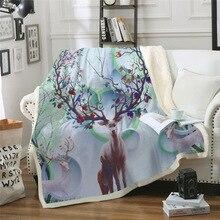 Sofa cushion Yoga mat Blanket Air Conditioner Thick Double-layer Plush 3D Digital Printed Sika Deer