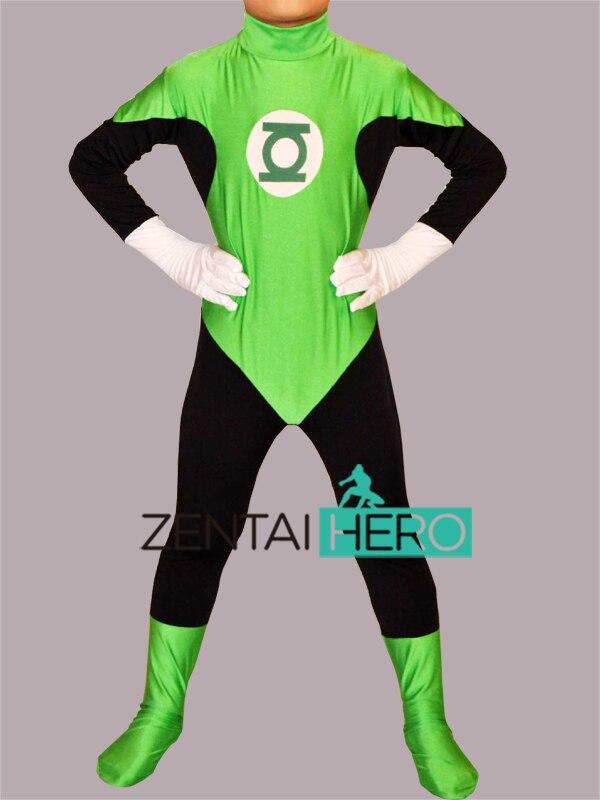 Free Shipping DHL NEW Children Halloween Costume Lycra Green Lantern Zentai Catsuit Cosplay Kid Superhero Costume KC7012