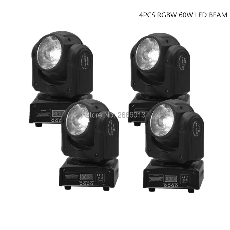 4pcs/lot RGBW 60W LED beam moving head light super bright LED DJ Spot Light 4IN1 DMX512 control linear beam stage effect lighing 2pcs lot rgbw double head 8x10w led beam light mini led spider light dmx512 control for stage disco dj equipments free shipping