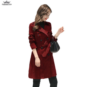tnlnzhyn 2019 Autumn Winter Women Coat Women Turn Down Collar Trench Coat Vintage Corduroy Trench Coat Fashion Slim Coats Y670