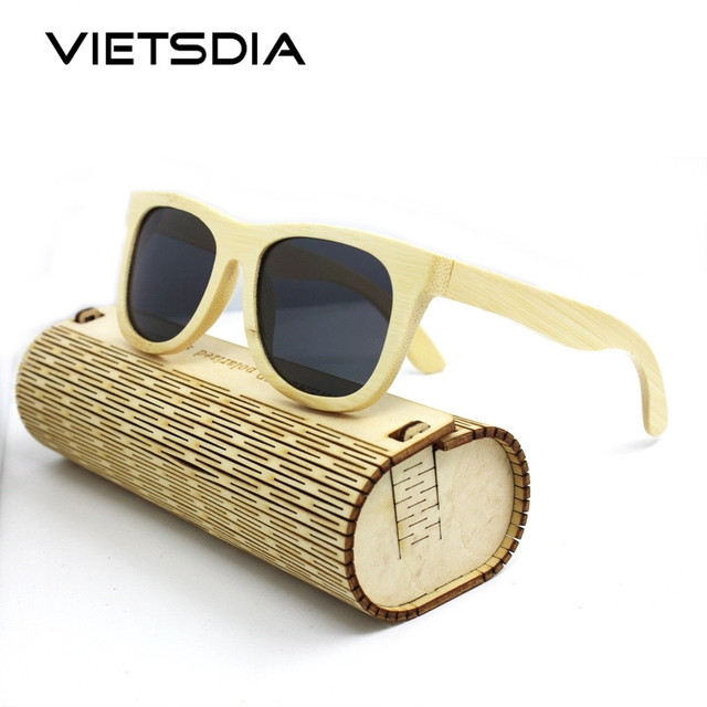 bdd747964f3 VIETSDIA Wooden Sunglasses Polarized Bamboo brand sun glasses Vintage Wood  Case Beach Sunglasses for Driving gafas de sol VE024