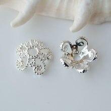 Sólido 925 sterling silver flor bead cap, spacer bead caps, jóias de prata diy apreciação/componentes, por atacado