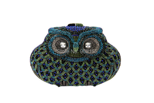 Vintage Owl Shape Evening Rhinestone Clutch Bags Womens Chain Handbags Ladies Party Prom Purse Designer Evening Bags B387#