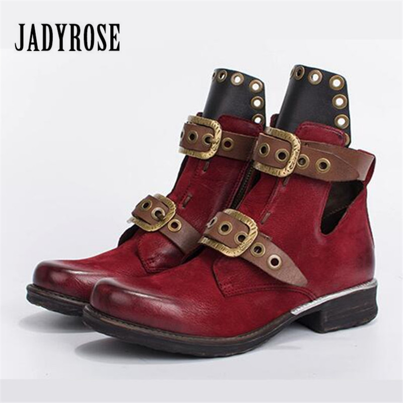 Jady Rose Vintage Women Autumn Winter Boots Belt Straps Short Ankle Boots Genuine Leather Rubber Shoes Woman Martin Boot jady rose vintage red women ankle boots side zipper straps genuine leather short botas autumn winter female platform martin boot