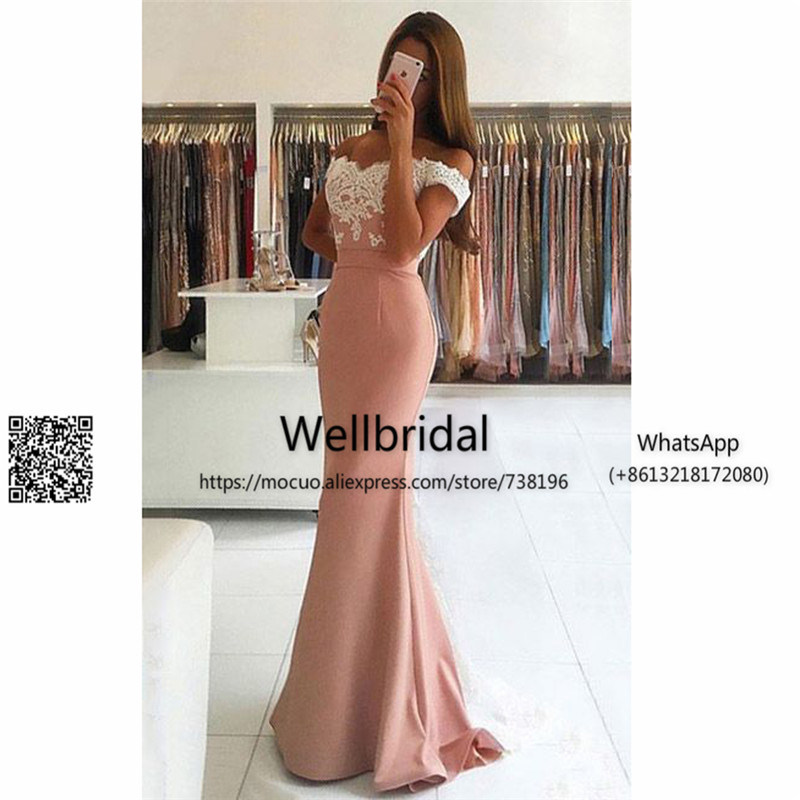 2017 New Trumpet Mermaid   Prom     Dresses   Off the shoulder Silk-like Satin Sweep Train Appliques Lace Backless Latest   Prom     Dresses