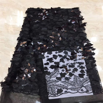 African Lace Fabric 2019 High Quality Lace 3d Flower Lace Fabric Embroidery trim 5yards For African Sequins lace Bridal dress