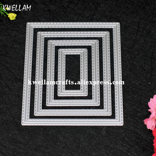 Outside In Stitched Rectangle Stackables Metal Die cutting Dies For DIY Scrapbooking Photo Album Decorative Embossing 7063050