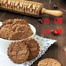купить Christmas Engraved Roller Reindeer Snowflake Embossing Rolling Pin For Cookies Noodle Biscuit Fondant Cake Dough Dropshiping по цене 194.09 рублей