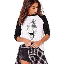 Осень Зима футболка с длинным рукавом для женщин Harajuku дерево и медведь дизайн круглый вырез Футболка для женщин дамы девушки топы футболки размера плюс