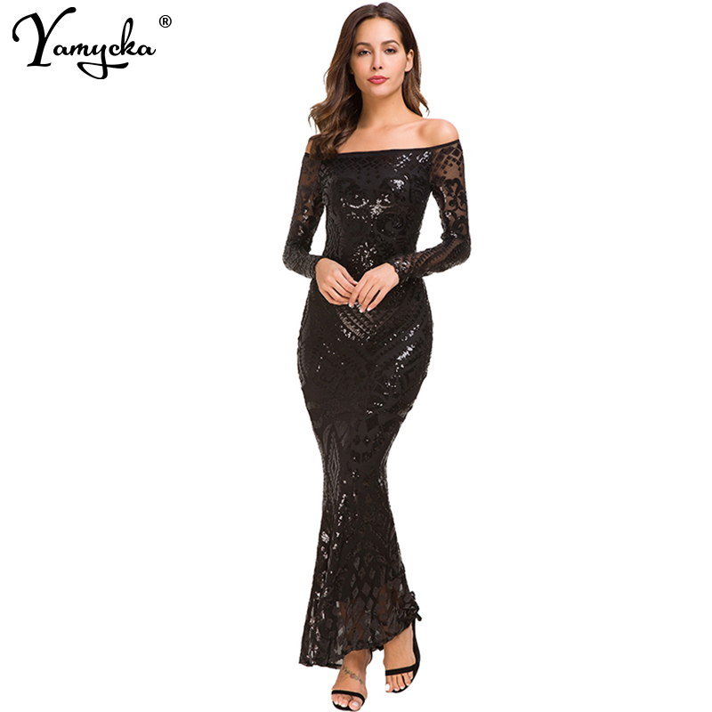 8d3b95808d78 Sexy Black White Sequins Summer Long Dress women Evening Off Shoulder party  dress elegant bodycon Night club dresses vestido New