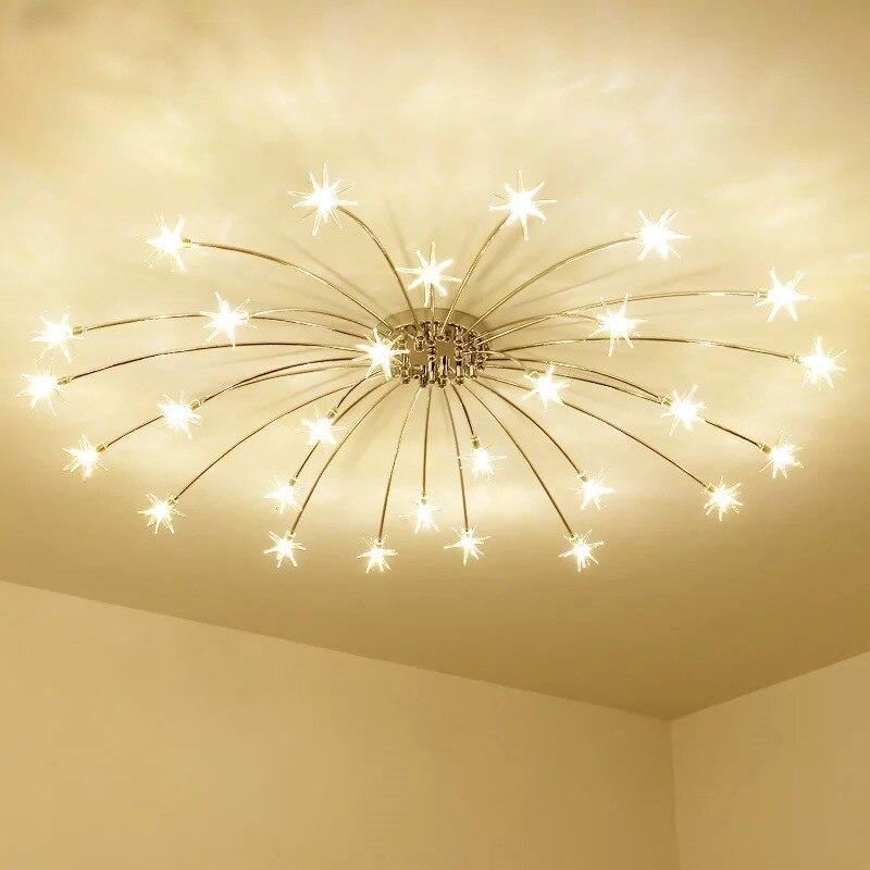 Lámparas de techo modernas Mini estrellas led, luces de iluminación de techo LED de diente de león de cristal de meteoro para decoración del hogar del dormitorio, lámparas de techo