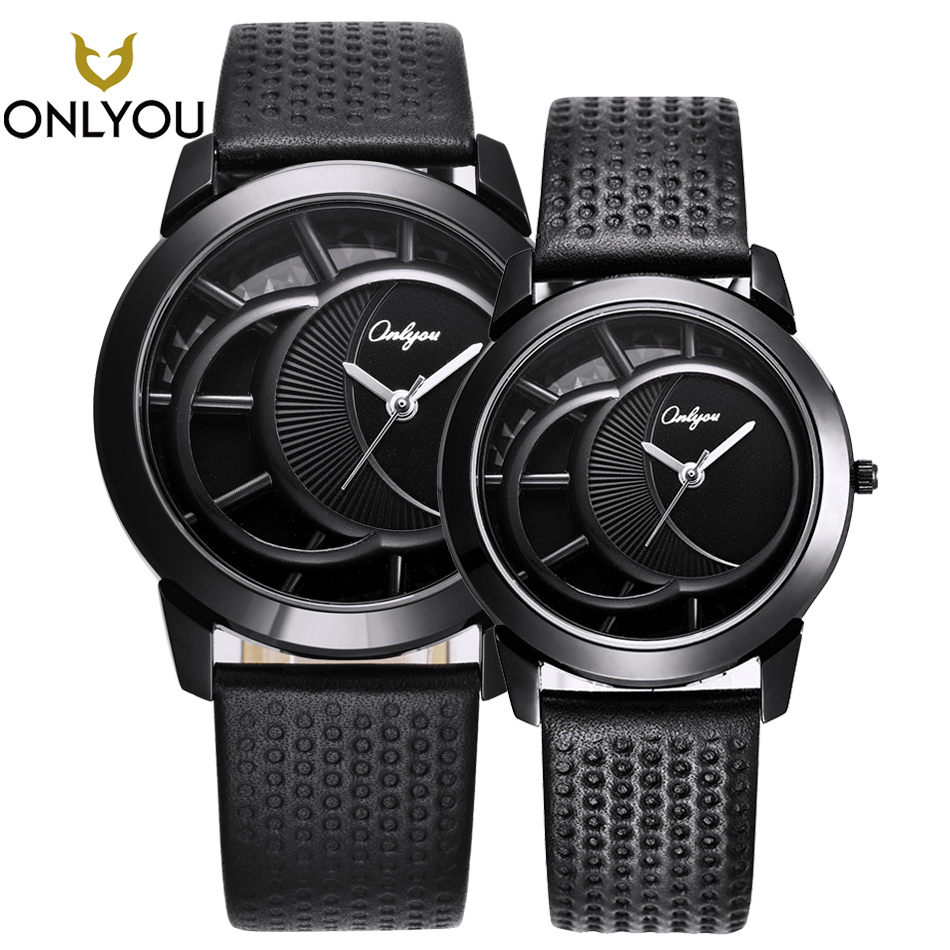 цена на ONLYOU New Lover Watches Gifts Couple Creative Top Brand Luxury Black Real Leather Wristwatch Men Quartz Watch Women Clock Male