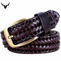 Fashion Men/Women Belts Genuine Leather Retro Weave Unisex Designer Belts Pin Buckle Men High Quality Cowskin Leather Belts Q228