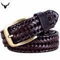 Moda Hombres/Mujeres Cinturones de Cuero Genuino Retro Weave Diseñador Unisex Cinturones de Cuero Del Cowskin Cinturones de Hebilla de Los Hombres de Alta Calidad Q228