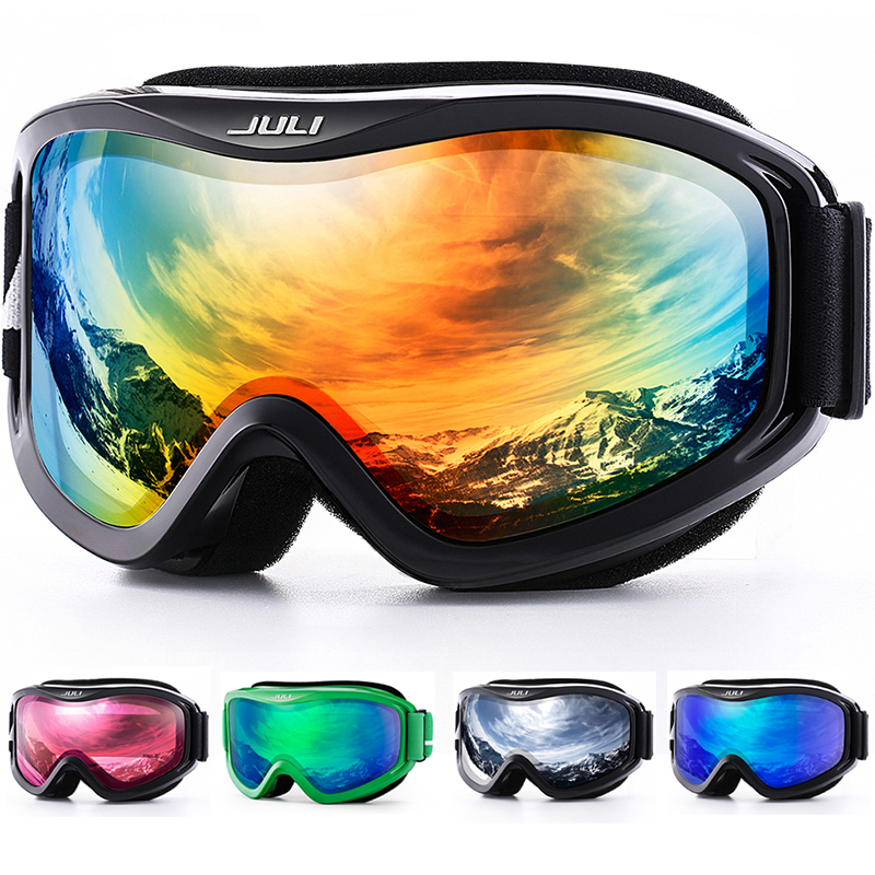 Лыжные очки, зимние спортивные сноубордические очки с анти-туман УФ-защитой двойные линзы для мужчин женщин и молодежи снегоход