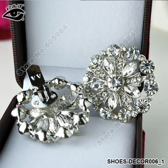 Free shipping 4cm rhinestones shoe decoration clip on shoe for Decoration clips