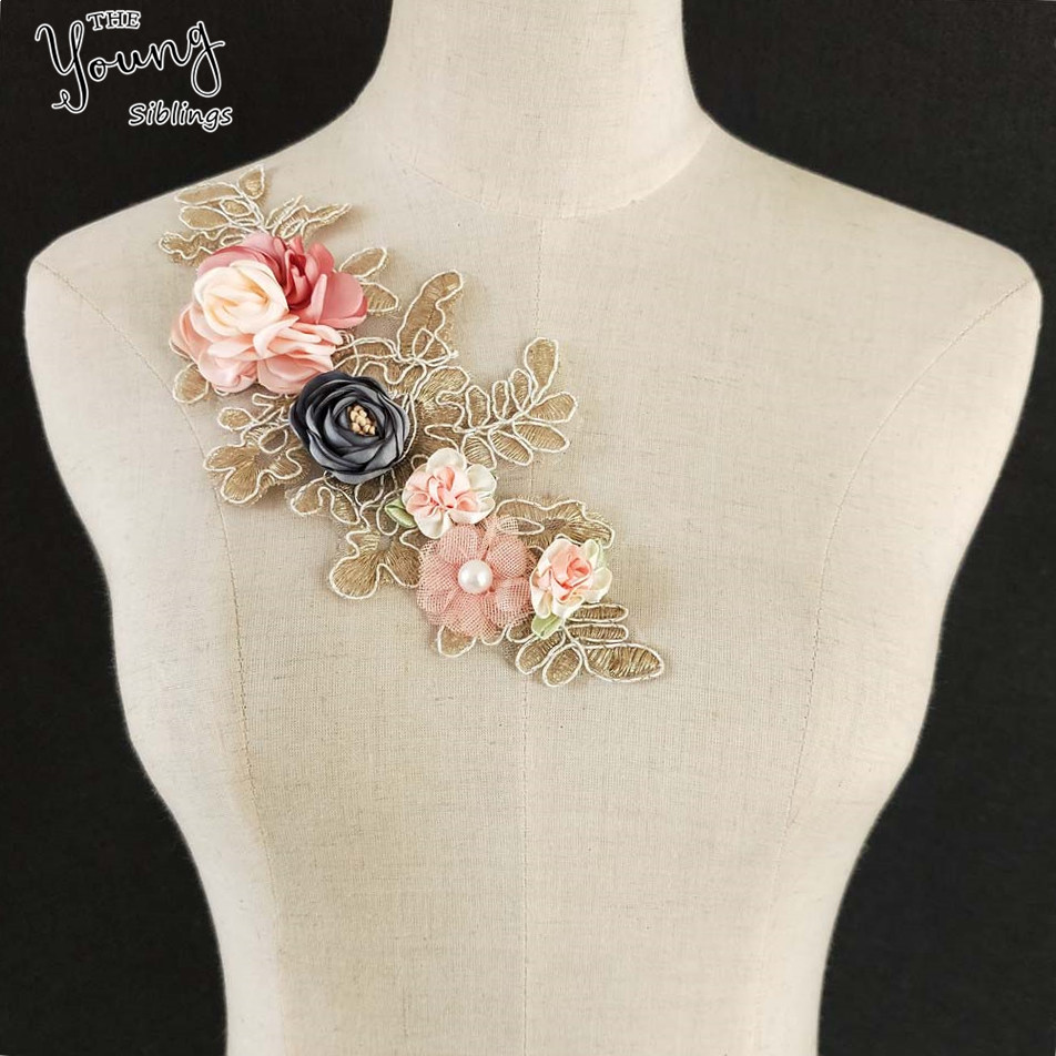 3D Flower Neck Golden Embroidery Organza Mesh Lace Collar DIY Craft Sewing Neckline Fabric Style 1