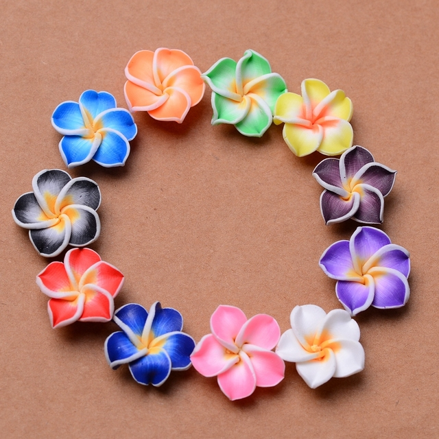 Free Shipping 10Pcs Colorful Loose 3D Polymer Clay Beads Flower/Plumeria rubra Design For DIY Jewelry Making