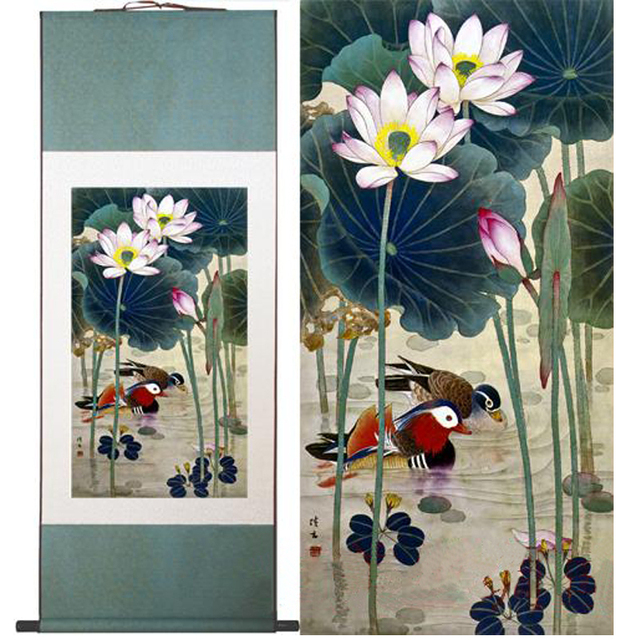 Aliexpress buy 100 high quality chinese art painting lotus 100 high quality chinese art painting lotus flowermandarin duck wall art picture home mightylinksfo