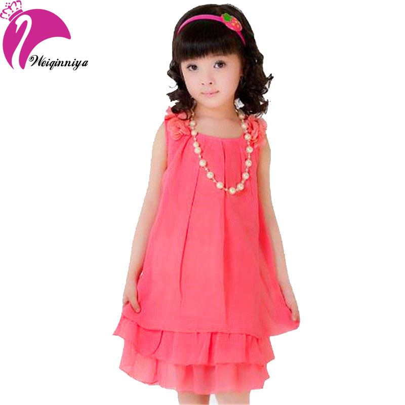 New Arrivals Summer 2017 Kid Girls Dress Cool Sleeveless Chiffon Dresses For Girl 4-15Y Children's Clothes Vestidos Infantil Hot
