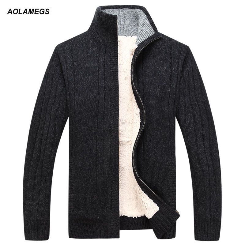 Aolamegs Sweater Men Autumn Winter Wool Thick Male Cardigan 2016 Fashion Brand Clothing Outwear Knitting Sweter
