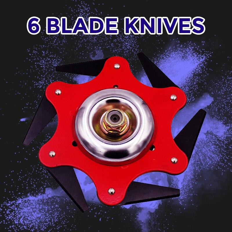 Universal 6 Blades Trimmer Head For Lawn Mower Steel Brush Cutter Grass Trimmer Metal Blades Razors Head Parts Garden Tools