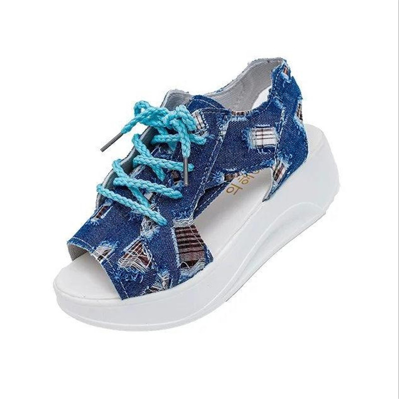 Women's canvas Shoes Summer Wedges Sandals Fashion Lady Tennis Open Toe Slimming Woman Casual Breathable Lace Platform Sandalias