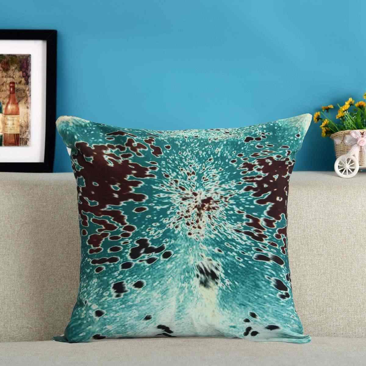 Ocean Coastal Turquoise Pillow Cover Cowhide Look Throw Cushion Case Sea Beach Nautical Canvas Material Decorative Pillowcase