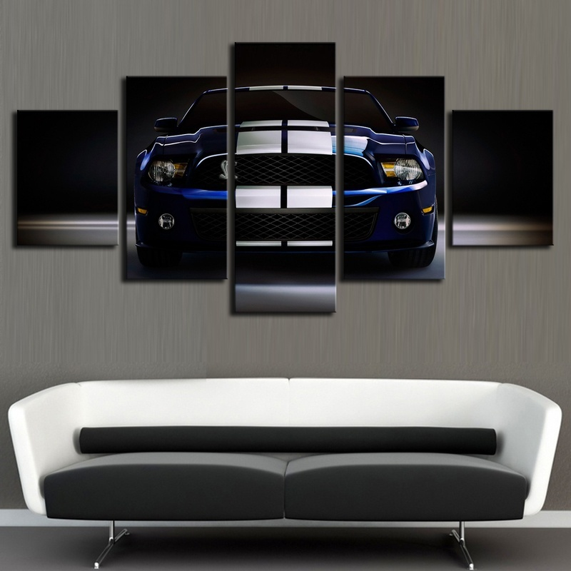 Ford Shelby Cobra Mustang Gt500 5 Pieces Canvas Wall Art Poster Print Home Decor