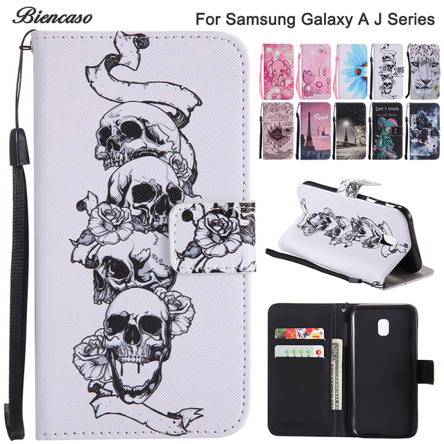 official photos 2f424 a9abe Aliexpress.com : Buy Biencaso Skull Wallet Flip Silicone Case For Samsung  Galaxy A3 A5 A7 J3 J5 J7 2017 Prime J330 J530 J730 S8 Plus Note8 Funda B128  ...