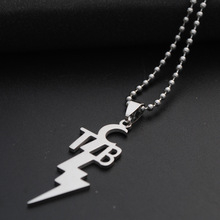 English Initial Symbol Necklace Abbreviation Lightning Stainless Steel Letter TCB alphabet