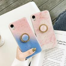 Gradient Marble Kickstand Funda Platinum Glitter Case for iphone 6 6S 7 8 Plus 10 X XS Max Xr Cover Soft TPU Bling Sequins Coque
