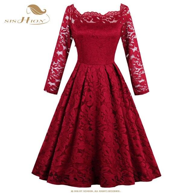 bcc1bfdc9e SISHION Długim Rękawem Sexy Koronki Sukienka Retro Szczupła Rocznika  Odzieży w Czarny Granatowy Wino Czerwone Eleganckie