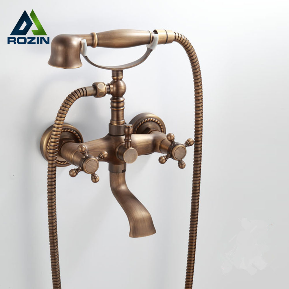 Luxury Wall Mounted Antique Brass Clawfoot Bathtub Faucet telephone style Bath Shower Water Mixer tap with Handshower free shipping polished chrome finish new wall mounted waterfall bathroom bathtub handheld shower tap mixer faucet yt 5333