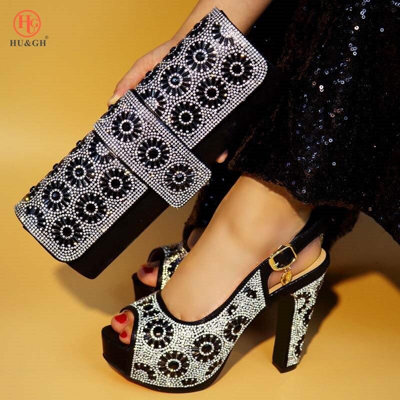 Parti Noir De Rouge Chaussures rouge Femme Mariage Italien bleu Assorti Mode argent or Et Pour Sac Strass 2018 Couleur Style Pompes Ensemble Nouveau tU5qaa