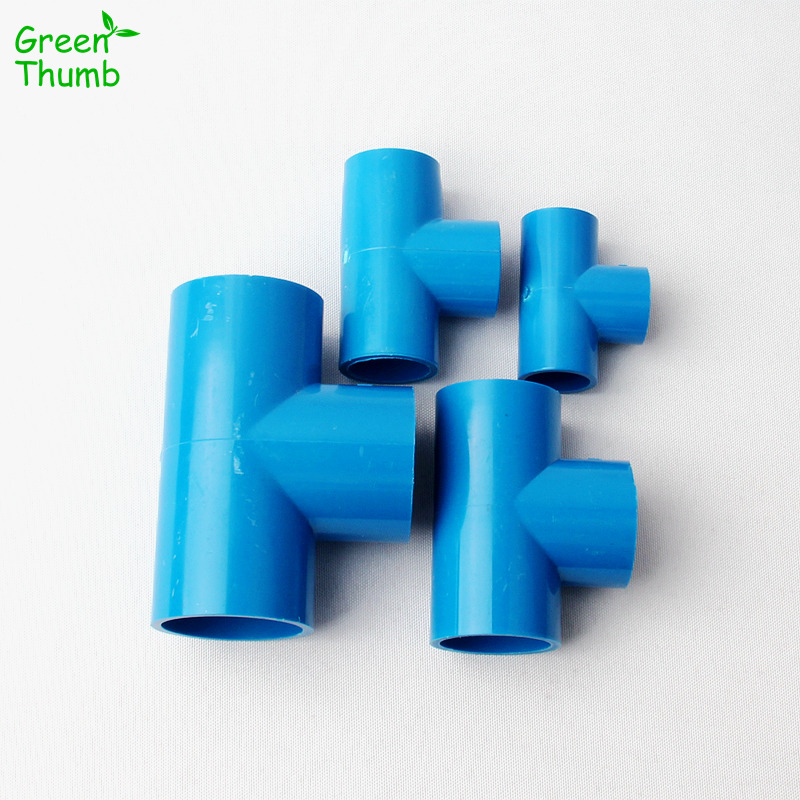 30pcs PVC Pipe Fittings Inner Dia 20 mm/25 mm/32 mm/40 mm Blue Equal Tee Connectors Garden Irrigation System PVC Water Pipe image