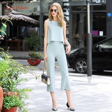 Fairy Dreams Women Two Piece Set Sleeveless Cropped Tops And Pants Summer Suit Trousers Beading Shirt 2017 New Style Clothes