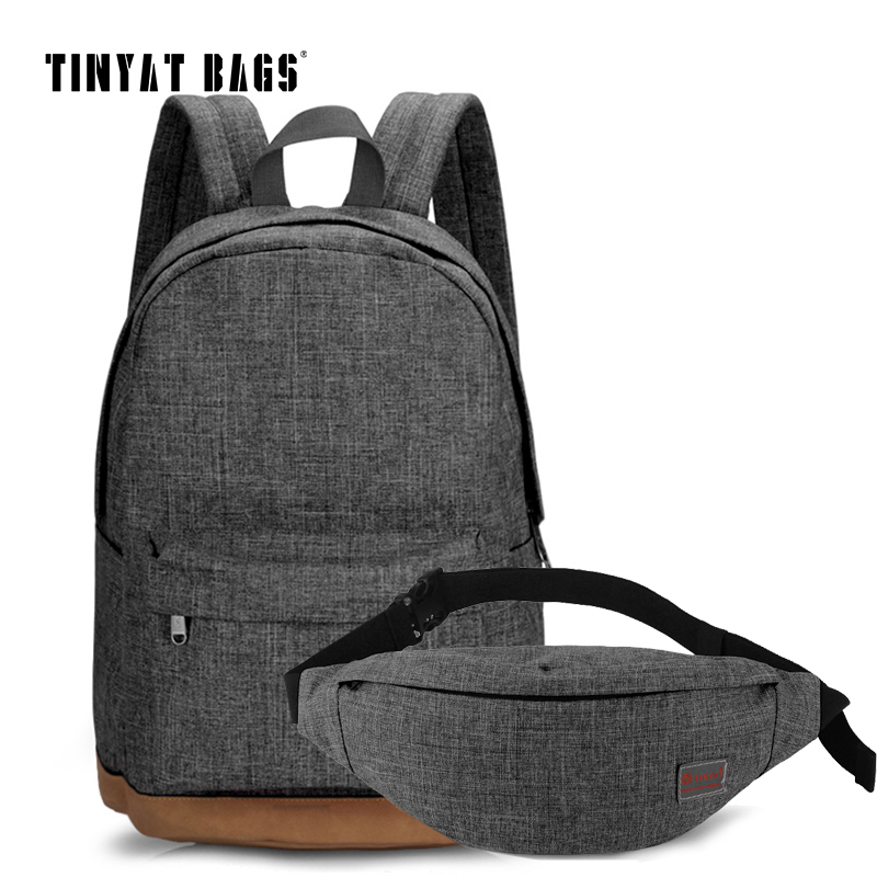 TINYAT Men Canvas Backpack School Casual Laptop Backpack Gray Composition Bags Leisure Male Waist Belt Bag Crossbody Bag Set