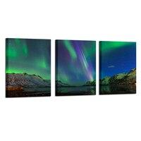 グリーン現代オーロラアイスランド風景北部ライトキャンバスプリント画像絵画用のリビングルームの装飾30x40cmx3pcs
