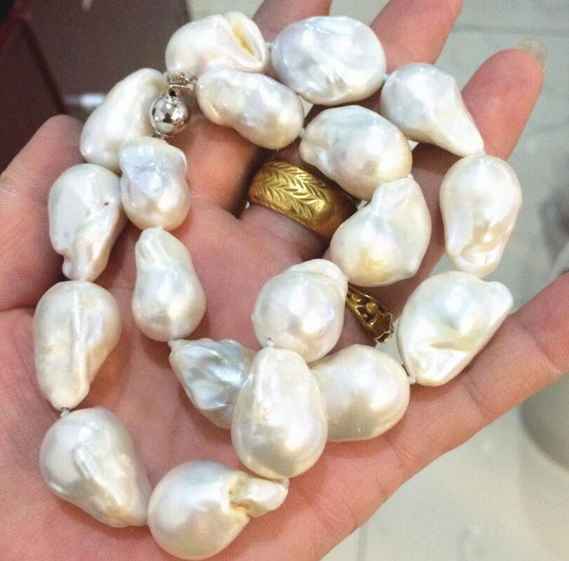 Mer du sud véritable collier de perles baroques blanches 18 pouces 10mm fermoir en or massif