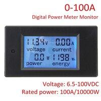 Dc 6.5-100ボルト電圧計電流計100a/1000ワット液晶デジタル電源パネルテスターメーターmonitorwith 50aシャント