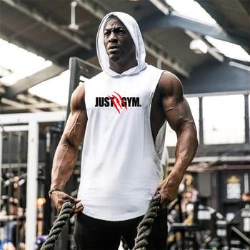 Muscle Guys Brand Mens Gyms Tank Top Hoodies Fitness men Sleeveless Shirt Hooded Sweatshirts Singlets Men Stringer Vest man