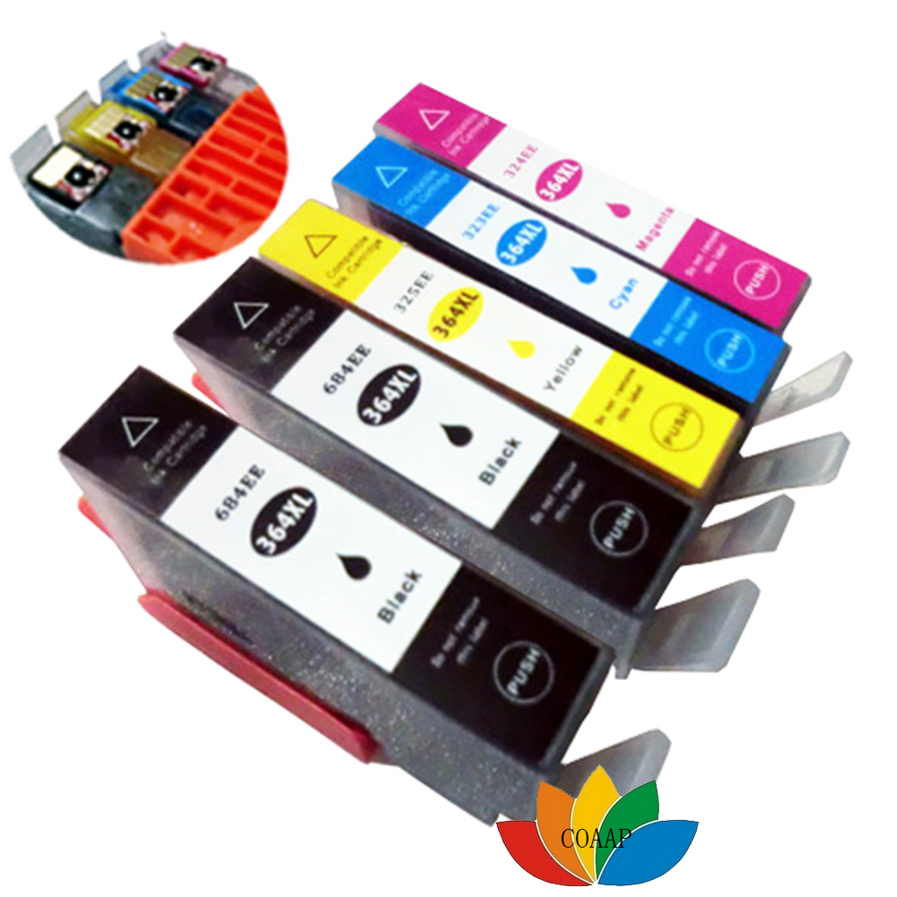 5 Compatible chip Ink Cartridge hp364 XL for HP Photosmart 5520 5524 6510 6520 7510 B109 B110 B209 B210 C309 C310 C410 Printer