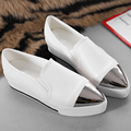 Size 35-39 Stainless Steel Pointy Toe Flat Platform Shoes Pigskin Leather Shoes Black White Color Slip On Women's Shoes