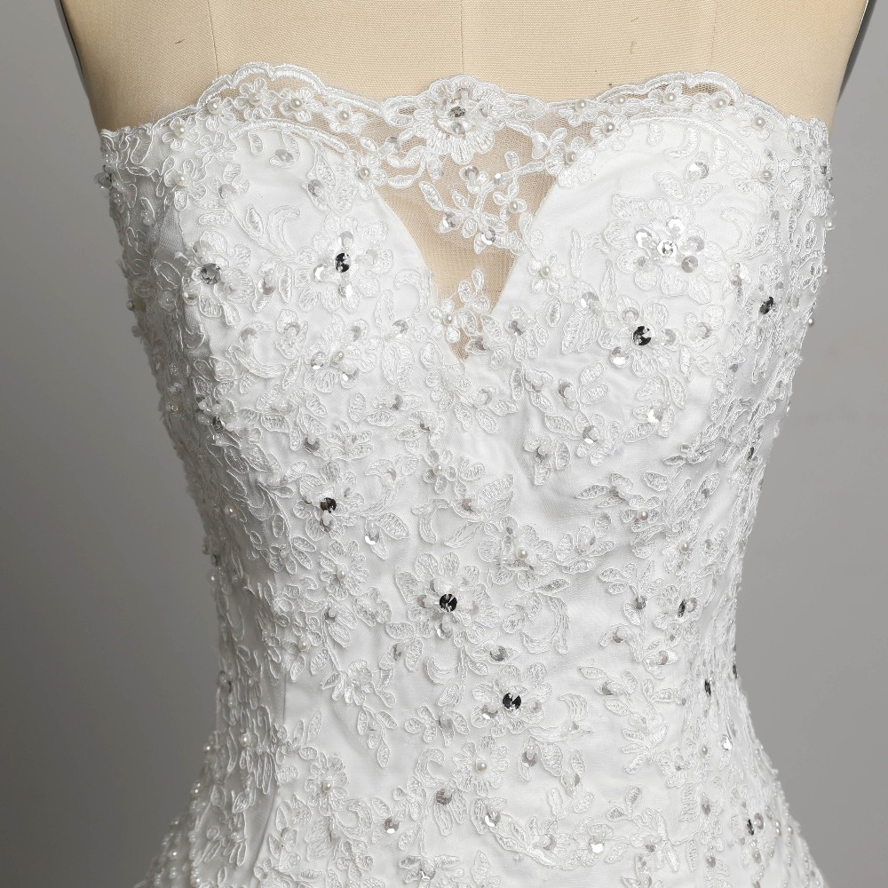 Strapless Lace Up Back Crystal Beading Appliques Lace Mermaid Wedding Dress
